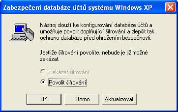 Zabezpečení databáze účtů systému Windows XP