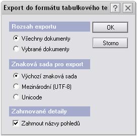 Export do formátu tabulkového textu