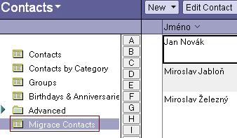 Migrace kontaktů - upravený pohled
