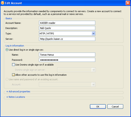 Editace HTTP/HTTPS účtu